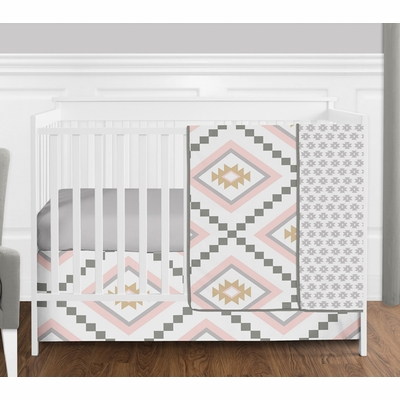 Aztec Pink and Grey 4 Piece Bumperless Crib Bedding Collection