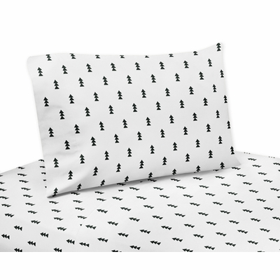 Bear Mountain Collection Triangle Tree Print Queen Sheet Set