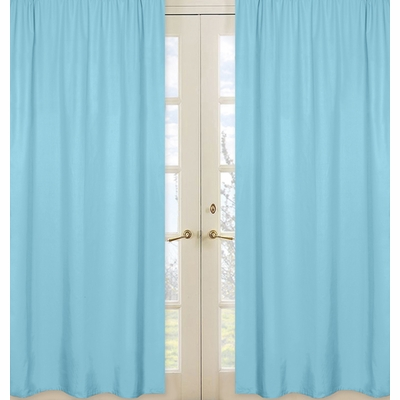 Blue Window Panels for Chevron Turquoise and White Collection  - Set of 2