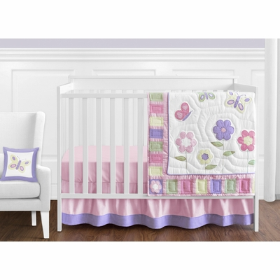 Butterfly Pink and Purple 11 Piece Bumperless Crib Bedding Collection
