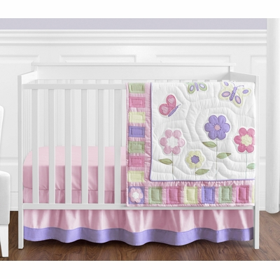 Butterfly Pink and Purple 4 Piece Bumperless Crib Bedding Collection