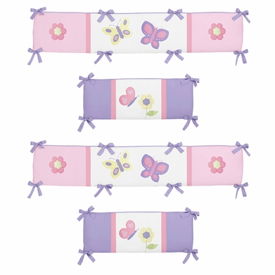 Butterfly Pink And Purple Collection Crib Bumper Pad