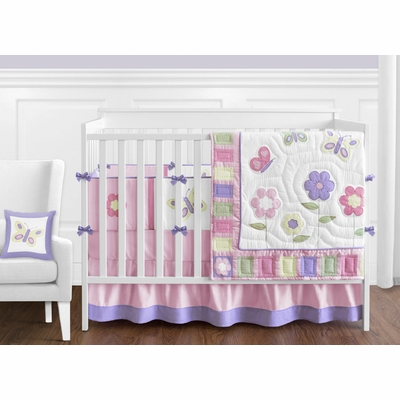 Butterfly Pink and Purple Crib Bedding Collection