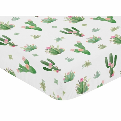 Cactus Floral Collection Crib Sheet  - Cactus Floral Print
