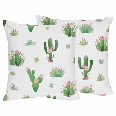 Cactus Floral Collection Decorative Accent Throw Pillows - Set of 2