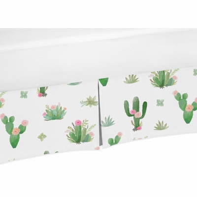 Cactus Floral Collection Toddler Bed Skirt