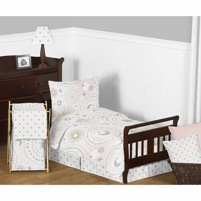 Celestial Pink and Gold Toddler Bedding Collection