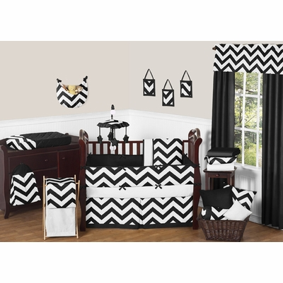 Chevron Black and White Crib Bedding Collection