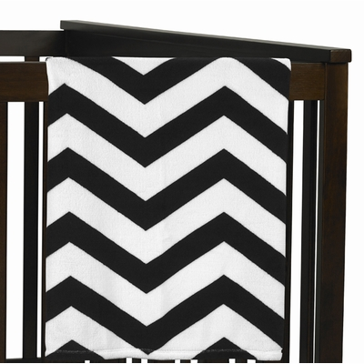 Chevron Black and White Collection Plush Baby Blanket