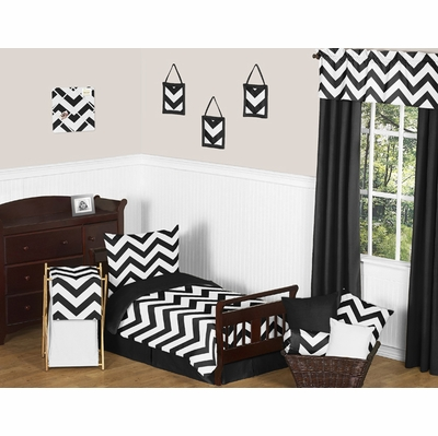 Chevron Black and White Toddler Bedding Collection
