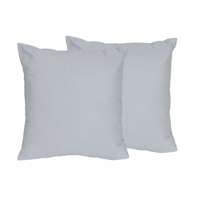 Chevron Collection Solid Gray Decorative Accent Throw Pillows - Set of 2