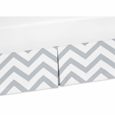 Chevron Gray and White Collection Crib Bed Skirt