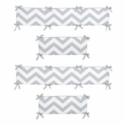 Chevron Gray and White Collection Crib Bumper Pad