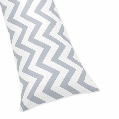 Chevron Gray and White Collection Full Length Body Pillow Cover