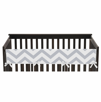 Chevron Gray and White Collection Long Rail Guard Cover