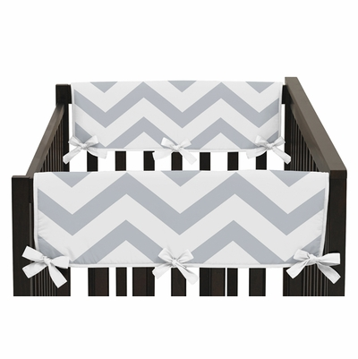 Chevron Gray and White Collection Side Rail Guard Covers - Set of 2