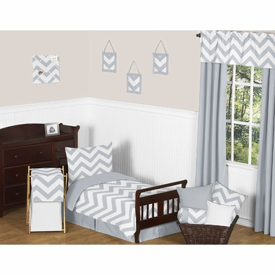 Chevron Gray and White Toddler Bedding Collection