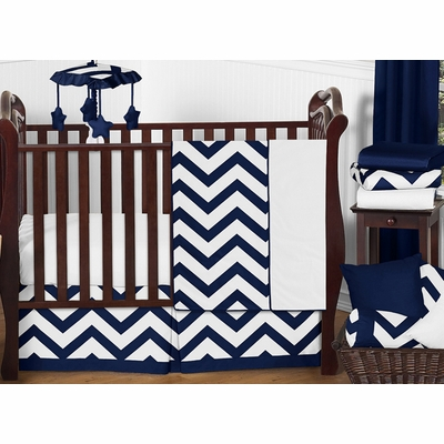 Chevron Navy and White 11 Piece Bumperless Crib Bedding Collection