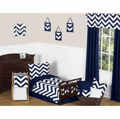 Chevron Navy and White Toddler Bedding Collection