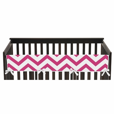 Chevron Pink and White Collection Long Rail Guard Cover