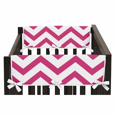 Chevron Pink and White Collection Side Rail Guard Covers - Set of 2