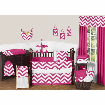 Chevron Pink and White Crib Bedding Collection