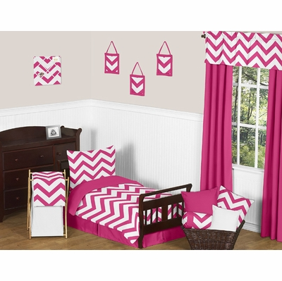 Chevron Pink and White Toddler Bedding Collection