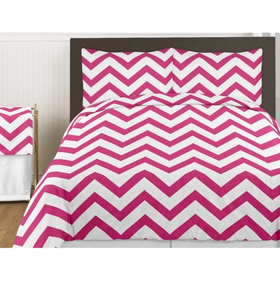Chevron Pink and White Twin Bedding Collection