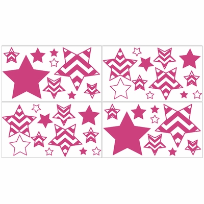 Chevron Pink and White Collection Peel and Stick Wall Decal Stickers - Set of 4 Sheets