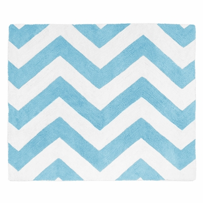 Chevron Turquoise and White Accent Floor Rug