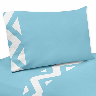 Chevron Turquoise and White Collection Queen Sheet Set