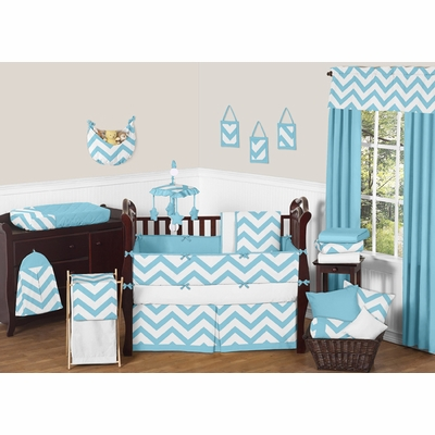 Chevron Turquoise and White Crib Bedding Collection