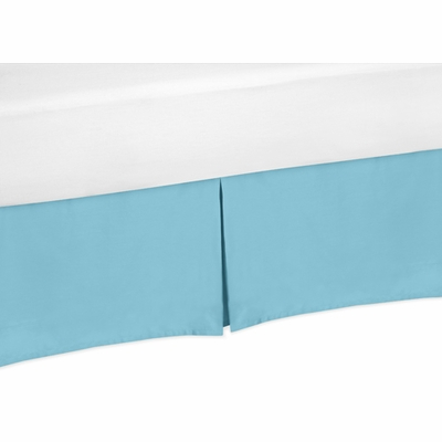 Chevron Turquoise and White Toddler Bed Skirt - Turquoise