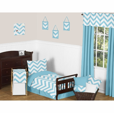 Chevron Turquoise and White Toddler Bedding Collection