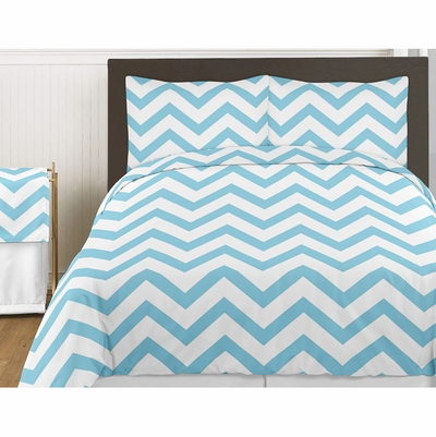 Chevron Turquoise and White Twin Bedding Collection