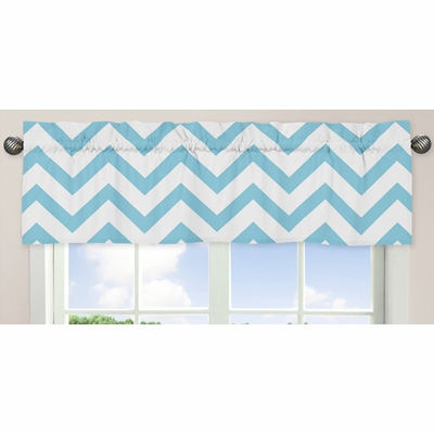 Chevron Turquoise and White Window Valance