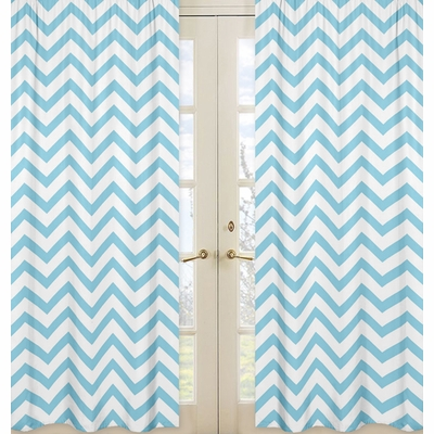 Chevron Turquoise and White Window Panels - Set of 2