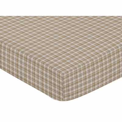 Construction Collection Fitted Crib Sheet - Plaid Print