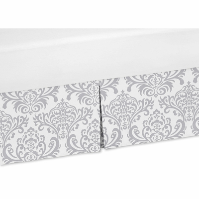 Damask Gray and White Crib Bed Skirt