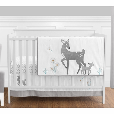 Deer 4 Piece Bumperless Crib Bedding Collection