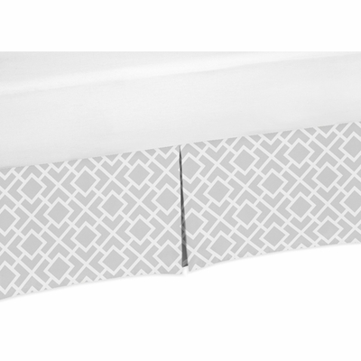 Diamond Gray and White Collection Crib Bed Skirt