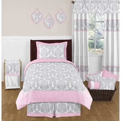 Elizabeth Pink and Gray Twin Bedding Collection