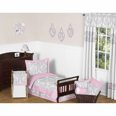 Elizabeth Pink and Gray Toddler Bedding Collection