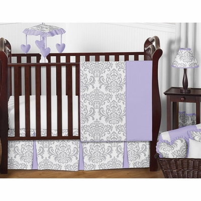 Elizabeth Lavender and Gray 11 Piece Bumperless Crib Bedding Collection