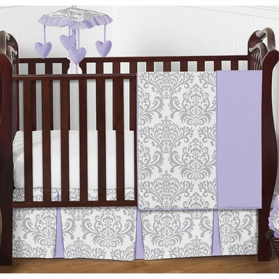 Elizabeth Lavender and Gray 4 Piece Bumperless Crib Bedding Collection