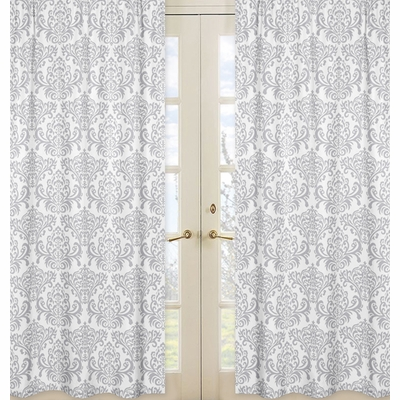 Elizabeth Lavender and Gray Collection Damask Window Panels - Set of 2