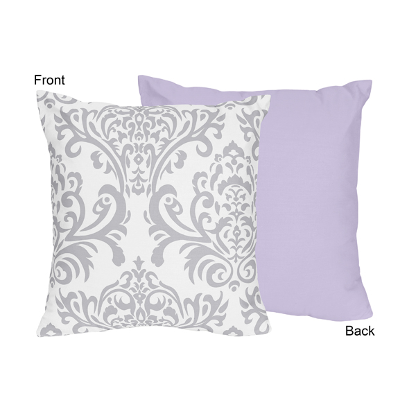 Elizabeth Lavender and Gray Collection Decorative Accent Throw Pillow