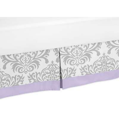 Elizabeth Lavender and Gray Collection Toddler Bed Skirt