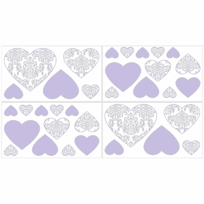 Elizabeth Lavender and Gray Collection Peel and Stick Wall Decal Stickers - Set of 4 Sheets