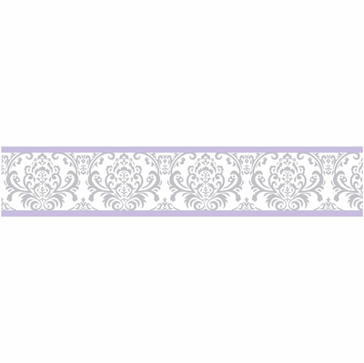 Elizabeth Lavender and Gray Collection Wallpaper Border